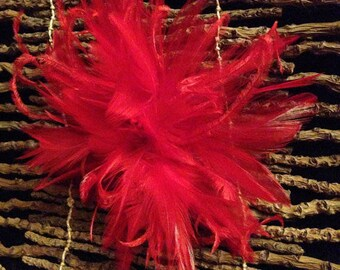 Red Feather Fascinator Hair Clip Accessory... many colors available...handmade in the usa