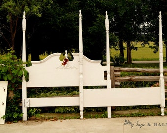 Antique white shabby-chic chalk painted queen-sized four poster bed frame, queen headboard & footboard, distressed bed, painted furniture