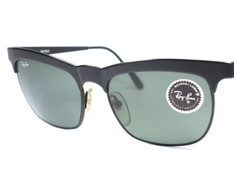 Vintage Ray Ban B\u0026L W0757 square sunglasses with black frame and gray lenses  / 80\u0027s Ray Ban sunglasses