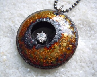 Weathered Ancient Enamel Artisan Jewelry Necklace