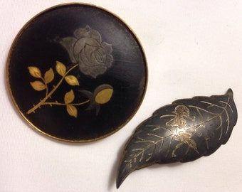 ANTIQUE ASIAN BROOCHES Pair