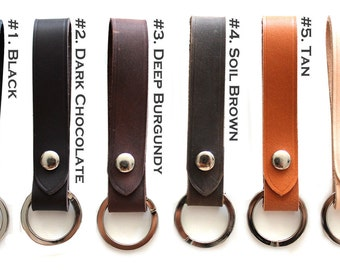 Personalized Leather KEY CHAIN, Key Holder, Key ring, attachable to belt loop, Leather key fob,