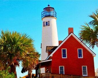 The Lighthouse. St. George Island Florida. Digital Pop art wall art 36X24 canvas pop art wall art colorful