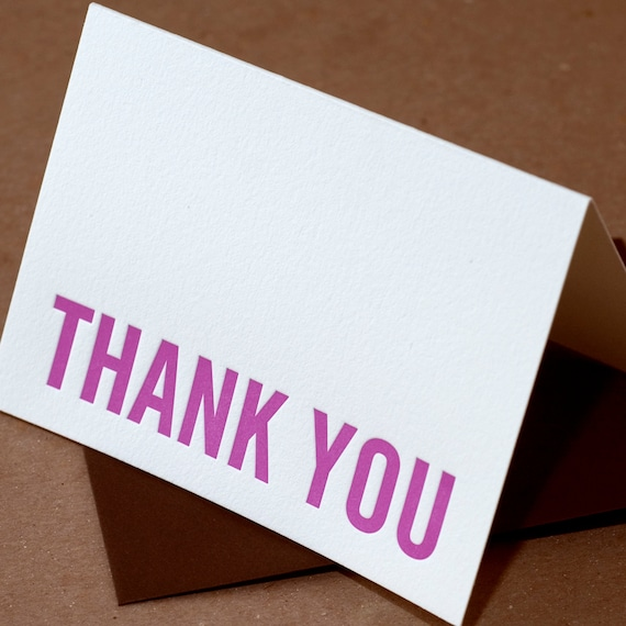 Letterpress Thank You Cards : Fuchsia Modern Block Thank You Notes - box of 75 small folded cards w envelope color choice