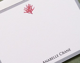 Red Coral  Stationery with Border,  Set of 15