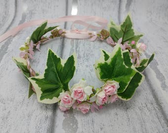 Woodland wedding hair garland, ivy hair wreath, pink flower crown, festival hair, gypsy crown, rose hair garland, UK, pink and white roses