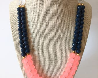 Coral and Navy Chunky Statement Necklace