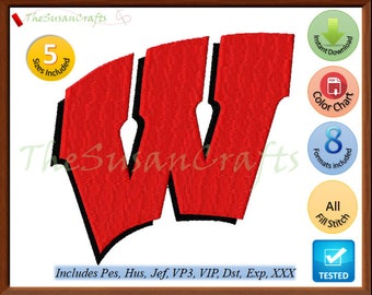 Wisconsin BADGERS EMBROIDERY DESIGNS Pes, Hus, Jef, Dst, Exp, Vp3, Xxx, Vip (Design 2)