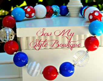Red/White & Blue Chunky Bubblegum Necklace