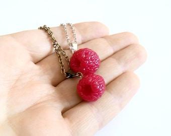 Raspberry Necklace - Raspberry Jewelry - Gifts - Red Raspberry Bridesmaid, Necklace, Bridesmaid Jewelry