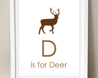 D is for Deer 8x10 Art Print Personalized Baby Boy's room Nursery Decor