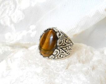 tiger's eye ring bohemian ring stone ring silvertone ring brown ring gemstone ring adjustable ring bohemian ring boho ring boho jewelry