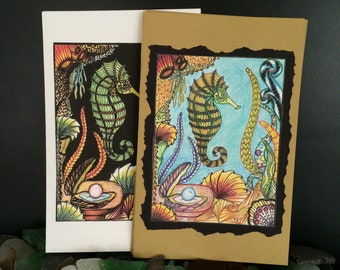Hand drawn and colored Seahorse blank greeting cards.