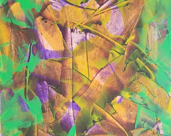 "Green, Purple and Orange Original Acrylic Abstract Painting on Canvas ""Series 4 XLVI"" Wall Art, Wall Hanging, Interior Design, Carl Dunn"