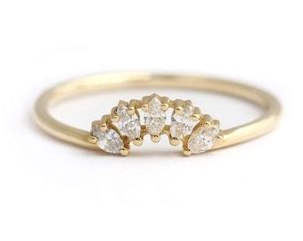 Marquise Diamond Wedding Ring, Cluster Wedding Ring, Diamond Crown Ring, Nesting Wedding Band, Five Diamonds Ring, Curved Diamond Ring