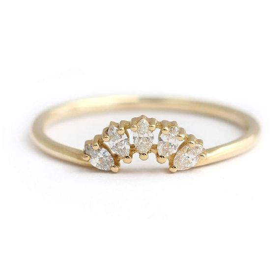 Marquise Diamond Wedding Ring Cluster Wedding Ring Diamond