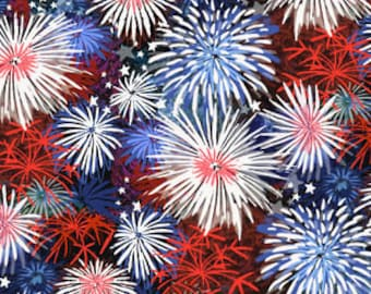 Patriotic Fireworks Cotton fabric