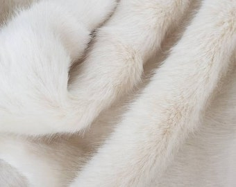 """Ivory Faux Fur Fabric 25""""-30""""(65-75cm) Pile Faux fur Craft artificial fur Baby photo prop Vegan fur for doll making,sewing and crafting"""
