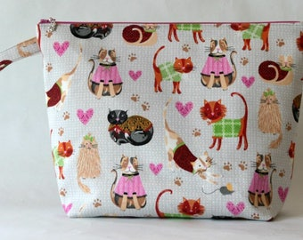 Large zipped wedge project bag cats in sweaters