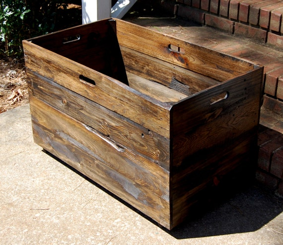 Oversized Wooden Crate From Reclaimed Wood Toy Chest Large