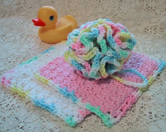 Baby Bath Set - 3 Piece Set - Bath Puff and 2 Wash Cloths - Nice Baby Shower Gift - Handmade Crocheted with Cotton Yarn