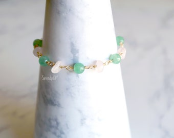 Gemstone Bracelet - Rose Quartz and Green Aventurine