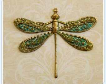 dragonfly pendant, charm, hand painted brass, stamping, finding