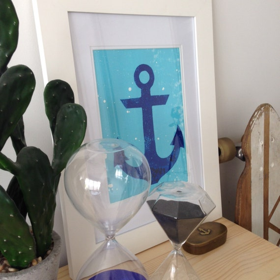 Anchor ARYT PRINT,  Screen-print on 300gsm textured cotton Paper / Navy blue and white