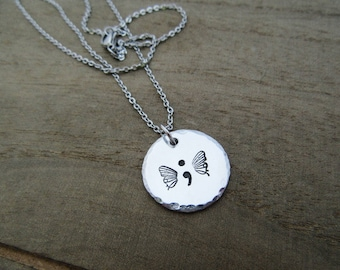 Semicolon Necklace - Semi Colon Butterfly Jewelry - Story Isn't Over