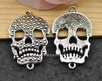 10pcs 21x34mm Antique Silver Skull Head Charm Connector, Day of the dead Charms Connector, Skull Head Charms Pendant