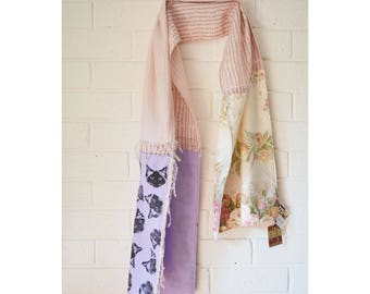 Patchwork Cat Scarf Shawl Wrap. Shabby Chic Pink, Floral Rose, Purple Pastel. Birman Ragdoll Cat. Upcycled Wearable Art. One of a kind.