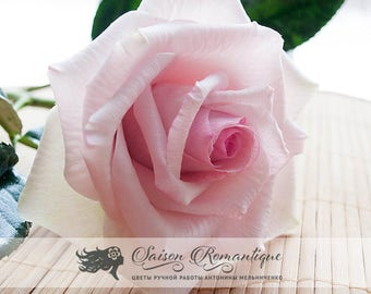 Light Pink Rose Belmonte - Polymer Clay Flowers