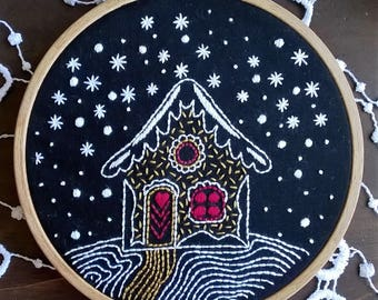 Embroidery KIT - Embroidery pattern - embroidery hoop art - Winternight - hand embroidery kit - christmas pattern - beginner embroidery