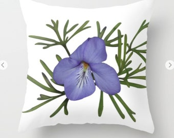 Bird's-foot violet throw pillow, cushion cover, nature inspired decorative pillows, nature lover gift, mothers day gift or housewarming gift