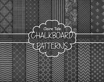 "Chalkboard digital paper: ""CHALKBOARD PATTERNS"" with damask, crosshatch, chevrons, stripes, polka dots, honeycomb, lace, quatrefoil, waves"