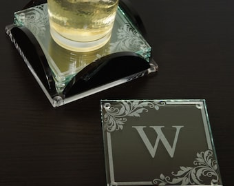 Personalized Glass Coaster Set with Color Selection, Couple's Monogram Design Options, and Font Selection (Set of 4 with Base)