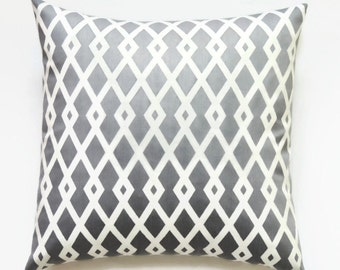 Gray Pillow Cover, 16x16 Pillow Cover, Decorative Pillows, Geometric Decorative Pillows, Modern Pillow Covers, Best Fret Nickel