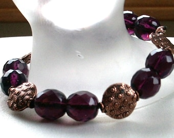 Stretch Bracelet Amethyst Preciosa Crytsal Rounds and Puffed Coin Copper Beads