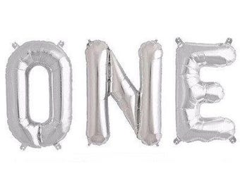 Silver ONE Foil Balloons- 1st Birthday Party Decoration