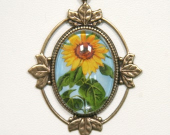 Sunflower Cabochon Pendant painting Gold Ornate Frame Bezel