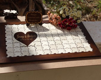 Wedding guest book puzzle, custom puzzle, custom wedding accesories, custom wedding guest book alternative, custom guestbook puzzle