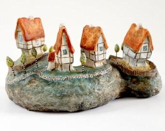 Fruit Trees Island   Handmade Miniature Island   Mixed-media artwork   Diorama   Houses   Trees   Village   Medieval