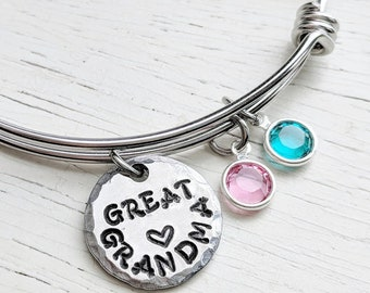 Great Grandma Bracelet, GreatGrandma Gift, Birthstone Jewelry, Swarovski Birthstones, Grandmother Jewelry, Custom Great-Grandma Jewelry