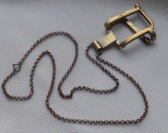 Bronze modernist Brutalist Vintage pendant necklace