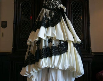 Gothic Wedding Dress Pale Yellow and Black French lace by Award Winning Bridal Salon