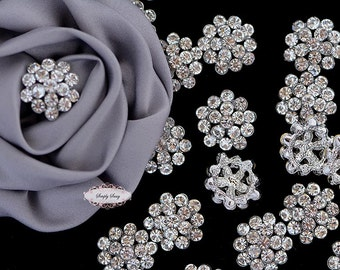 10 Rhinestone Button Metal Flatback Brooch Embellishment Crystal Wedding Brooch Bouquet Cake Hair Comb Clip RD76