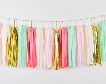Coral Pink Mint Tassel Garland, Coral Nursery, Mint Coral Wedding, Pink Cake Smash, Pink Wedding, Pink Nursery, Coral Baby Shower
