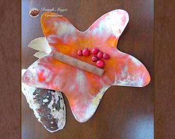 Starfish Copper Dish, Beach Home Decor, Beachcomber, Anniversary Gift for Men Women Couple, Rustic Metal Decor, Cottage Chic Man Cave Decor