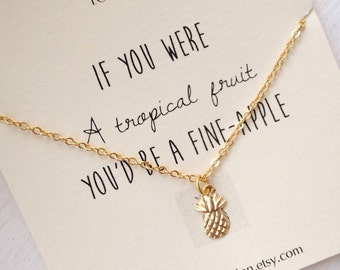 Tiny pineapple necklace, pineapple necklace, gold pineapple necklace, silver pineapple necklace, dainty, cute, inspirational, tiny