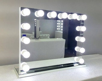 Hollywood lighted vanity mirror large makeup mirror with xl dimmable frameless hollywood forever lighted vanity mirror w free led bulbs dual outlets aloadofball Image collections